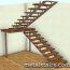 полнопоротная лестница с деревянными ступенями