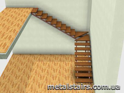 поворотная лестница с деревянными забежными ступенями