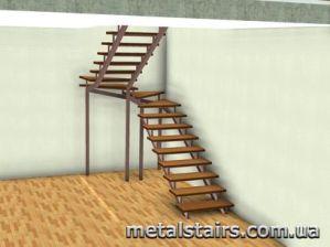 деревянная лестница с полным поворотом