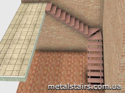 поворотная металлическая лестница с забежными ступенями