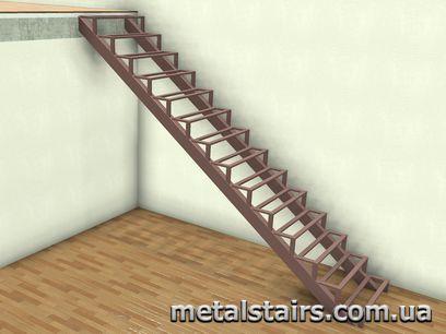 прямой металлокаркас лестницы