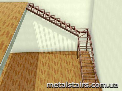 поворотный металлокаркас с забежными ступенями
